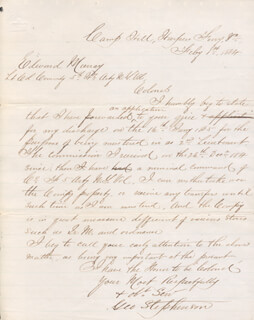 CIVIL WAR - UNION - AUTOGRAPH LETTER SIGNED 02/01/1864 CO-SIGNED BY: GEORGE STEPHENSON