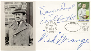 RED GRANGE - FIRST DAY COVER SIGNED CO-SIGNED BY: EARL CAMPBELL, DARRELL ROYAL