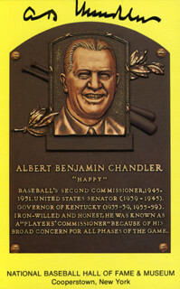 ALBERT B. HAPPY CHANDLER - BASEBALL HALL OF FAME PLAQUE POSTCARD SIGNED