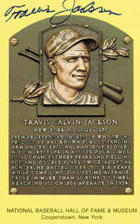 TRAVIS JACKSON - BASEBALL HALL OF FAME PLAQUE POSTCARD SIGNED