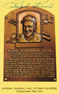 RALPH KINER - BASEBALL HALL OF FAME CARD SIGNED