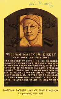 BILL DICKEY - BASEBALL HALL OF FAME PLAQUE POSTCARD SIGNED