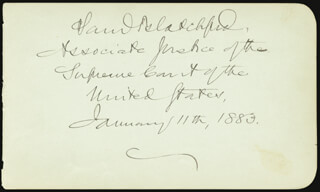 Autographs: ASSOCIATE JUSTICE SAMUEL D. BLATCHFORD - SIGNATURE(S) 11/11/1883 CO-SIGNED BY: SAMUEL J.R. McMILLAN, WILLIAM P. FRYE
