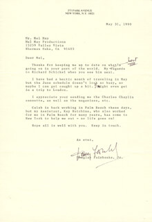 DOUGLAS FAIRBANKS JR. - TYPED LETTER SIGNED 05/31/1990