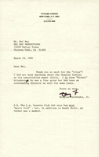 DOUGLAS FAIRBANKS JR. - TYPED LETTER SIGNED 03/19/1991