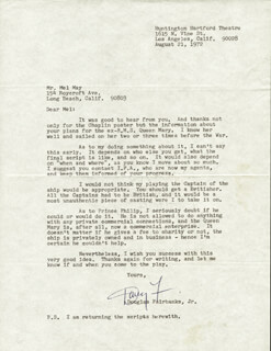 DOUGLAS FAIRBANKS JR. - TYPED LETTER SIGNED 08/21/1972