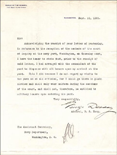 Autographs: ADMIRAL GEORGE DEWEY - TYPED LETTER SIGNED 09/10/1901