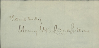 HENRY WADSWORTH LONGFELLOW - AUTOGRAPH SENTIMENT SIGNED