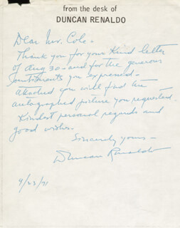 DUNCAN THE CISCO KID RENALDO - AUTOGRAPH LETTER SIGNED 09/23/1971