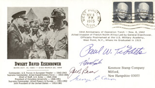 ENOLA GAY CREW - COMMEMORATIVE ENVELOPE SIGNED CO-SIGNED BY: ENOLA GAY CREW (THEODORE VAN KIRK), ENOLA GAY CREW (JACOB BESER), ENOLA GAY CREW (GEORGE R. CARON), ENOLA GAY CREW (PAUL W. TIBBETS)