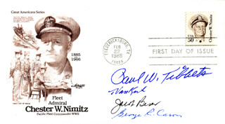 ENOLA GAY CREW - FIRST DAY COVER SIGNED CO-SIGNED BY: ENOLA GAY CREW (THEODORE VAN KIRK), ENOLA GAY CREW (JACOB BESER), ENOLA GAY CREW (GEORGE R. CARON), ENOLA GAY CREW (PAUL W. TIBBETS)
