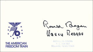 PRESIDENT RONALD REAGAN - COMMEMORATIVE ENVELOPE SIGNED CO-SIGNED BY: FIRST LADY NANCY DAVIS REAGAN