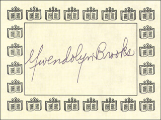 GWENDOLYN BROOKS - BOOK PLATE SIGNED