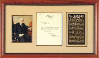 SAM MR. DEMOCRAT RAYBURN - TYPED LETTER SIGNED 10/12/1949