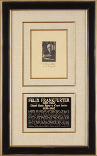 ASSOCIATE JUSTICE FELIX FRANKFURTER - INSCRIBED PHOTOGRAPH MOUNT SIGNED