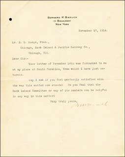 Autographs: BERNARD M. BARUCH - TYPED LETTER SIGNED 11/27/1914