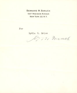 Autographs: BERNARD M. BARUCH - TYPED INSCRIPTION SIGNED