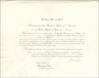 Autographs: PRESIDENT WILLIAM H. TAFT - DIPLOMATIC APPOINTMENT SIGNED 10/04/1912 CO-SIGNED BY: HUNTINGTON WILSON