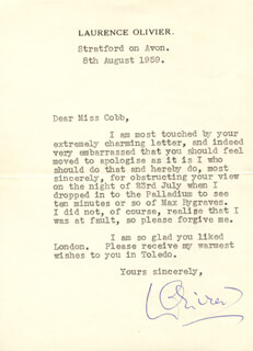 LAURENCE OLIVIER - TYPED LETTER SIGNED 08/08/1959
