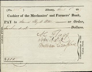 MAJOR GENERAL JOHN A. DIX - AUTOGRAPHED SIGNED CHECK 06/01/1837 CO-SIGNED BY: AZARIAH C. FLAGG, WILLIAM CAMPBELL