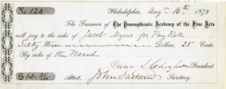 JOHN SARTAIN - PROMISSORY NOTE SIGNED 08/16/1873 CO-SIGNED BY: JACOB MYERS