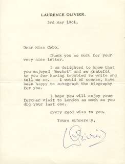 LAURENCE OLIVIER - TYPED LETTER SIGNED 05/03/1961