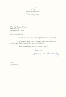 GENERAL OMAR N. BRADLEY - TYPED LETTER SIGNED 01/06/1966