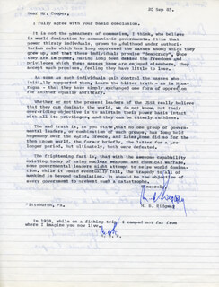 GENERAL MATTHEW B. RIDGWAY - TYPED LETTER TWICE SIGNED 09/20/1985
