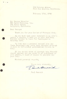 PAUL HENREID - TYPED LETTER SIGNED 02/18/1942