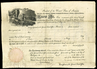 PRESIDENT JAMES MONROE - LAND GRANT SIGNED 02/09/1818 CO-SIGNED BY: JOSIAH MEIGS