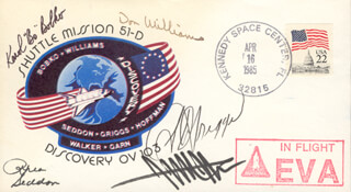 S. DAVID GRIGGS - COMMEMORATIVE ENVELOPE SIGNED CO-SIGNED BY: COLONEL KAROL J. BOBKO, CAPTAIN DONALD E. WILLIAMS, JEFFREY A. HOFFMAN, MARGARET RHEA SEDDON
