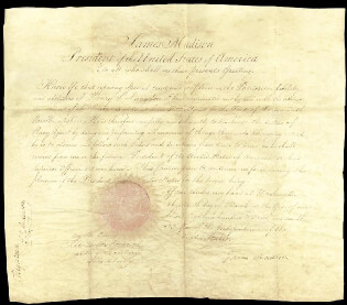 Autographs: PRESIDENT JAMES MADISON - NAVAL APPOINTMENT SIGNED 03/09/1809 CO-SIGNED BY: CHARLES W. GOLDSBOROUGH