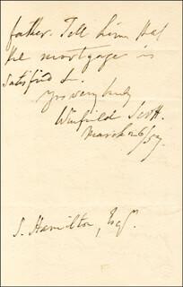 LT. GENERAL WINFIELD SCOTT - AUTOGRAPH LETTER SIGNED 03/26/1857