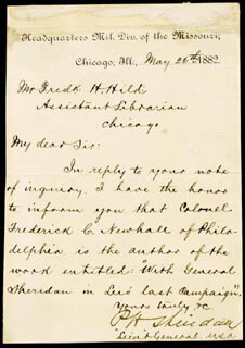 GENERAL PHILIP H. SHERIDAN - MANUSCRIPT LETTER SIGNED 05/26/1882