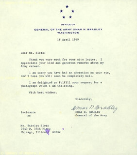 Autographs: GENERAL OMAR N. BRADLEY - TYPED LETTER SIGNED 04/18/1969