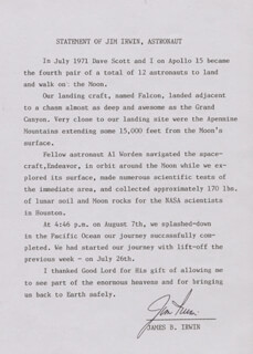 COLONEL JAMES B. JIM IRWIN - TYPED STATEMENT SIGNED