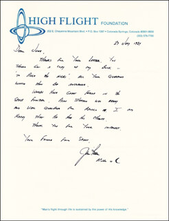 COLONEL JAMES B. JIM IRWIN - AUTOGRAPH LETTER SIGNED 07/27/1987