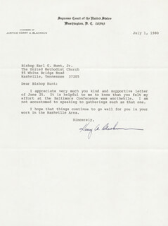 Autographs: ASSOCIATE JUSTICE HARRY A. BLACKMUN - TYPED LETTER SIGNED 07/01/1980