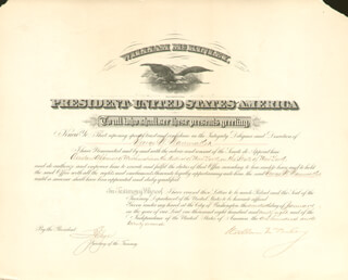 Autographs: PRESIDENT WILLIAM McKINLEY - CIVIL APPOINTMENT SIGNED 01/17/1898 CO-SIGNED BY: LYMAN J. GAGE