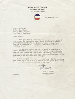 GENERAL MARK W. CLARK - TYPED LETTER SIGNED 12/13/1949
