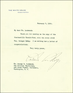 PRESIDENT CALVIN COOLIDGE - TYPED LETTER SIGNED 02/07/1925