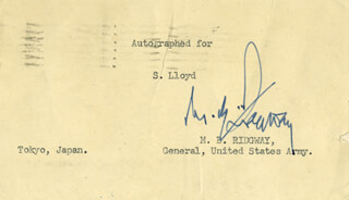 GENERAL MATTHEW B. RIDGWAY - TYPED NOTE SIGNED 03/05