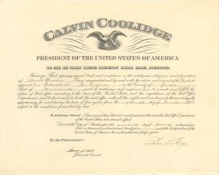 Autographs: PRESIDENT CALVIN COOLIDGE - CIVIL APPOINTMENT SIGNED 01/17/1924 CO-SIGNED BY: HARRY S. NEW