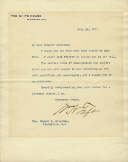 PRESIDENT WILLIAM H. TAFT - TYPED LETTER SIGNED 07/25/1911
