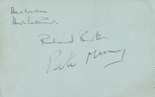 RICHARD BURTON - AUTOGRAPH CO-SIGNED BY: HUGH LATIMER, PETER MURRAY