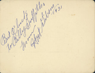 HOOT (EDMUND) GIBSON - AUTOGRAPH NOTE SIGNED 1931