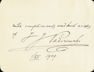 Autographs: IGNACY JAN PADEREWSKI - AUTOGRAPH SENTIMENT SIGNED 12/01/1909