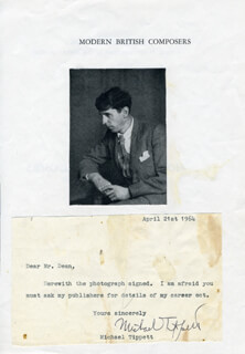 MICHAEL K. TIPPETT - TYPED NOTE SIGNED 04/21/1964