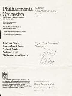 DAME JANET BAKER - PROGRAM SIGNED CIRCA 1982