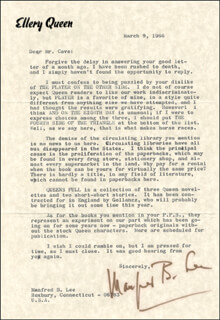 MANFRED ELLERY QUEEN LEE - TYPED LETTER SIGNED 03/09/1966